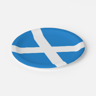 Scottish flag paper plate