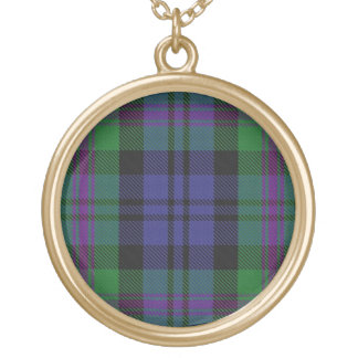 Scottish Flair Clan Baird Tartan Gold Plated Necklace