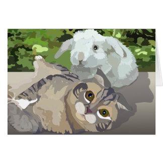 Scottish Fold cat meets Minilop Rabbit Greeting Card