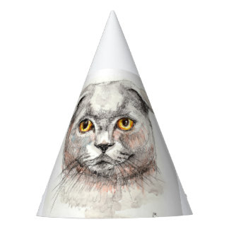 Scottish Fold Cat Party Hat
