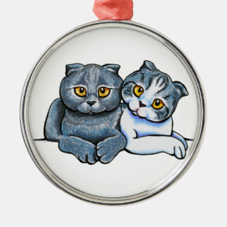 Scottish Fold Pair Silver-Colored Round Decoration