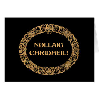 Scottish Gaelic Christmas Wreath Gold-effect Black Card