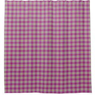 Scottish Gala Hot Pink Yellow Tartan Plaid Shower Curtain