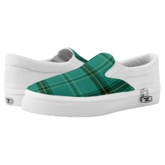 Scottish Green Tartan Printed Shoes