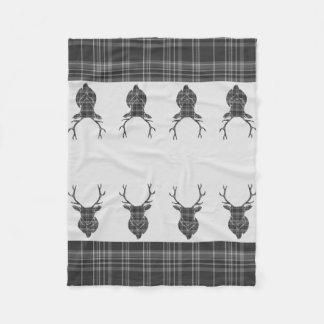 Scottish Grey Tartan Rustic Stag Head Antler Fleece Blanket
