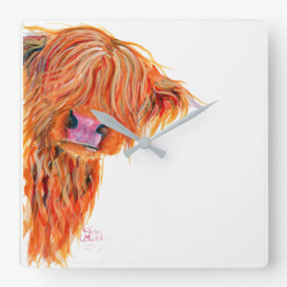 Scottish Hairy Highland Cow ' PEEKABOO ' Clock