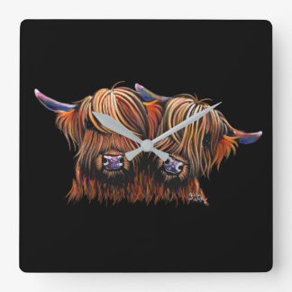 Scottish Hairy Highland Cows ' PALS ' Clock