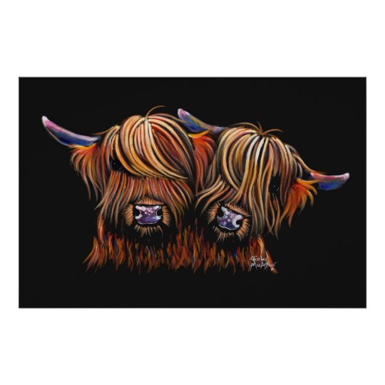 Scottish Hairy Highland Cows ' PALS ' Poster