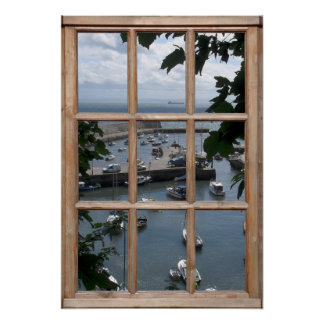 Scottish Harbor View from a Window Poster