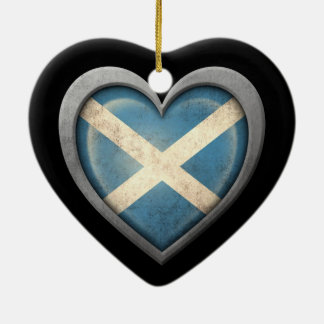 Scottish Heart Flag with Metal Effect Christmas Ornament