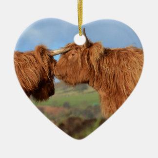 Scottish Highland Cattle Ceramic Heart Decoration