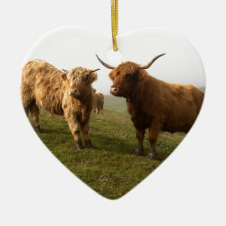 Scottish Highland Cattle - Greener Pastures! Ceramic Heart Decoration