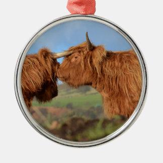 Scottish Highland Cattle Silver-Colored Round Decoration