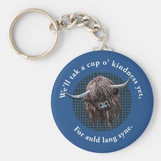Scottish Highland Cow. Auld Lang Syne. Basic Round Button Key Ring