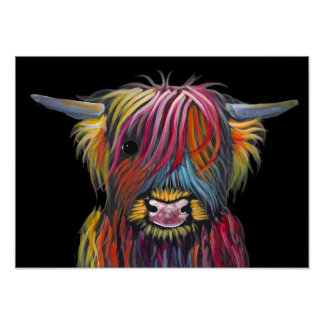 Scottish Highland Cow ' BRaVEHEaRT 2' by Shirley M Poster