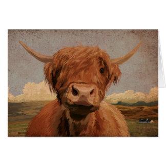 Scottish highland cow card