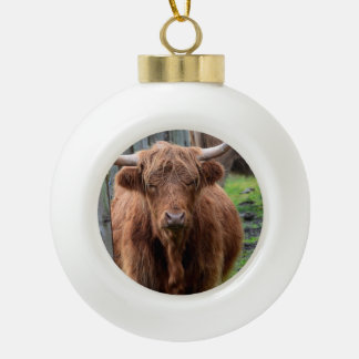 Scottish Highland Cow Ceramic Ball Christmas Ornament