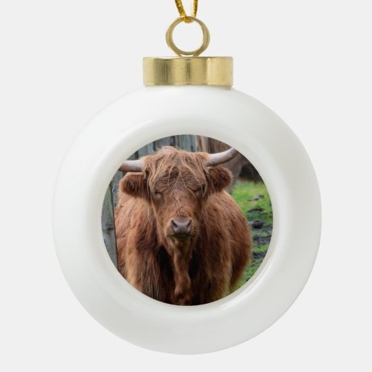 Scottish Highland Cow Ceramic Ball Christmas Ornament