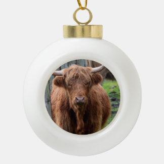Scottish Highland Cow Ceramic Ball Decoration