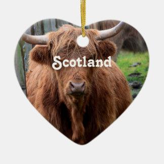 Scottish Highland Cow Ceramic Heart Decoration