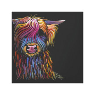 Scottish Highland Cow ' FLoWER PoT ' by Shirley M Canvas Print