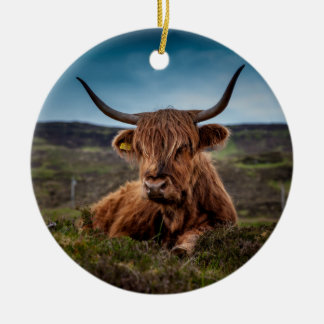 Scottish Highland Cow Longhorn Bull Rancher Round Ceramic Decoration