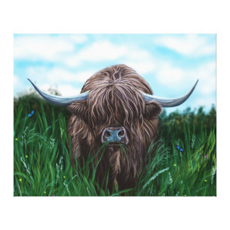 Scottish Highland Cow Painting Canvas Print