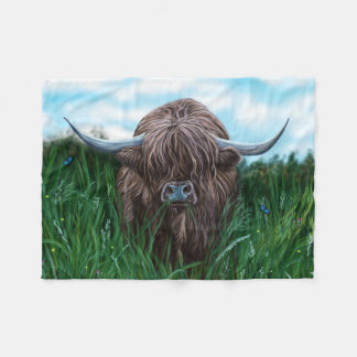 Scottish Highland Cow Painting Fleece Blanket