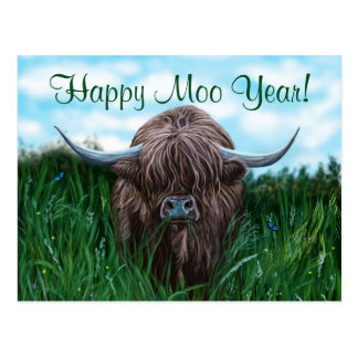Scottish Highland Cow Painting Postcard