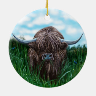 Scottish Highland Cow Painting Round Ceramic Decoration
