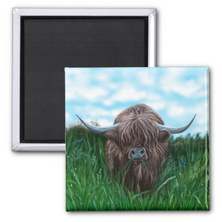 Scottish Highland Cow Painting Square Magnet