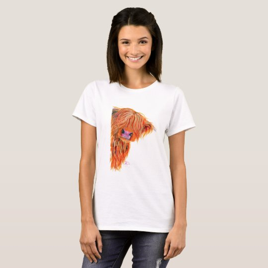 Scottish Highland Cow PEEKABOO' Womens T-Shirt Top