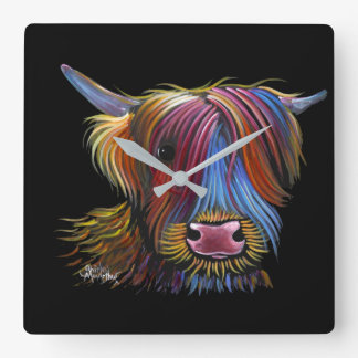 Scottish Highland Cow ' PODGER ' by Shirley M Square Wall Clock