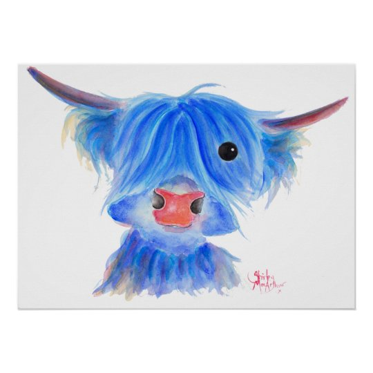 Scottish Highland Cow ' PUGGLES ' Poster