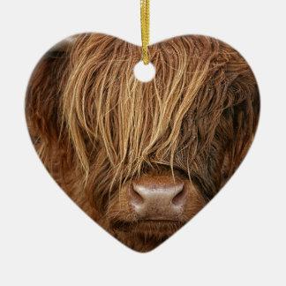 Scottish Highland Cow - Scotland Ceramic Heart Decoration