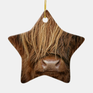 Scottish Highland Cow - Scotland Ceramic Star Decoration
