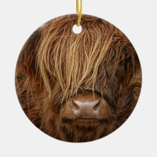 Scottish Highland Cow - Scotland Round Ceramic Decoration