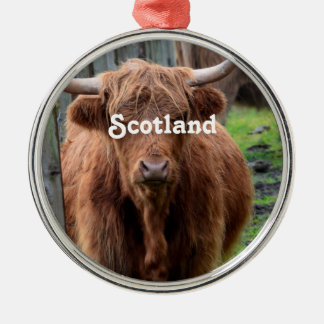Scottish Highland Cow Silver-Colored Round Decoration