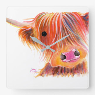 Scottish Highland Cow ' SWEET SATSUMA ' by Shirley Square Wall Clock