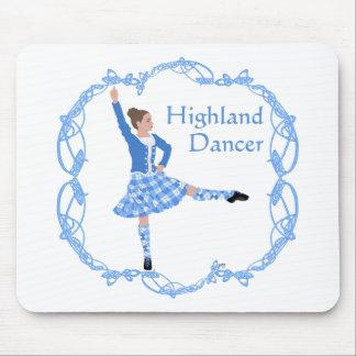 Scottish Highland Dancer Celtic Knotwork Blue Mouse Pads