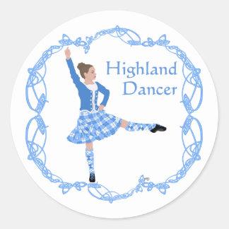 Scottish Highland Dancer Celtic Knotwork Blue Round Sticker
