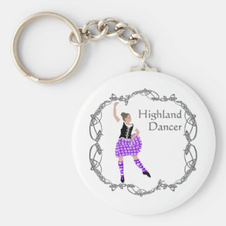 Scottish Highland Dancer Celtic Knotwork Purple Basic Round Button Key Ring
