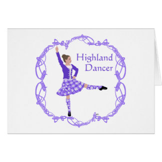 Scottish Highland Dancer Celtic Knotwork Purple Greeting Card