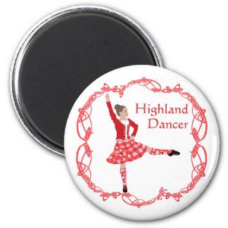 Scottish Highland Dancer Celtic Knotwork Red 6 Cm Round Magnet