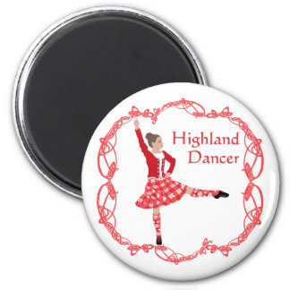 Scottish Highland Dancer Celtic Knotwork Red Magnet