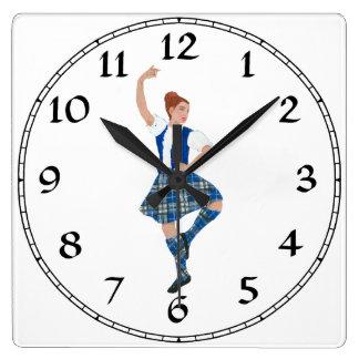 Scottish Highland Dancer - Nevil Plaid Square Wall Clock
