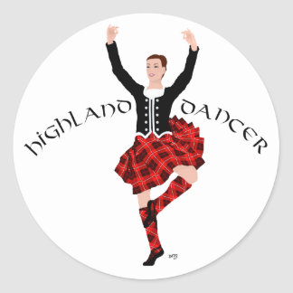 Scottish Highland Dancer Red and Black Classic Round Sticker