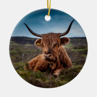 Scottish Highland longhorns Rancher Round Ceramic Decoration