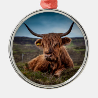 Scottish Highland longhorns Rancher Silver-Colored Round Decoration
