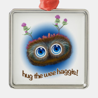 Scottish 'Hoots Toots Haggis' Silver-Colored Square Decoration